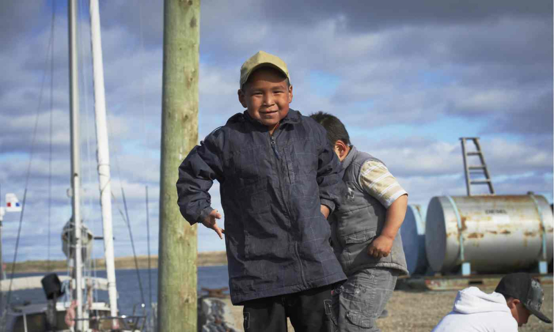 Inuk boy in Observor article on Crystal Serenity